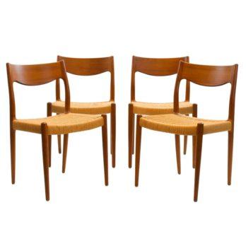 Série de 4 chaises en teck et papercord