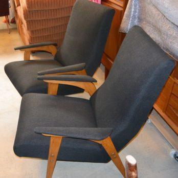 Paire de fauteuils (tissu noir)