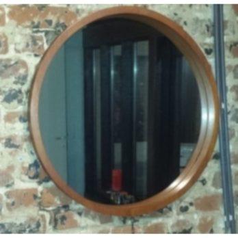 Grand miroir circulaire (contour teck)